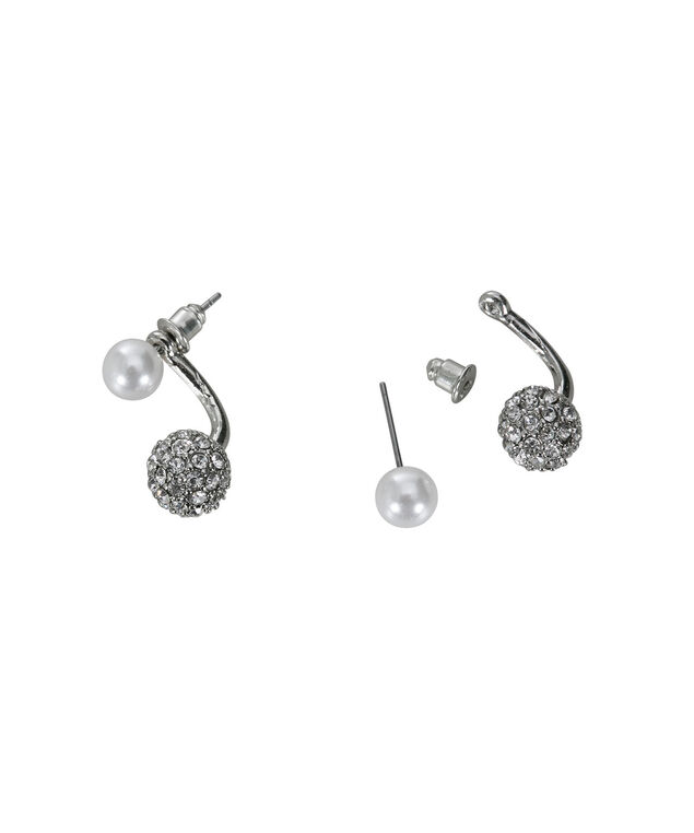 Front Back Earring, White/Rhodium, hi-res