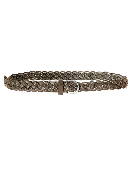 Brown Braided Belt, Brown/Silver, hi-res
