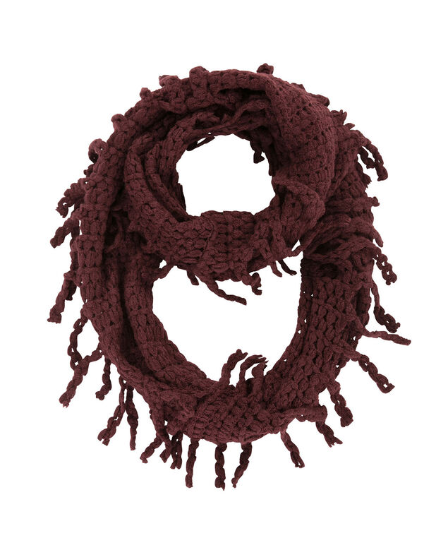 Braided Fringe Eternity Scarf, Wine, hi-res