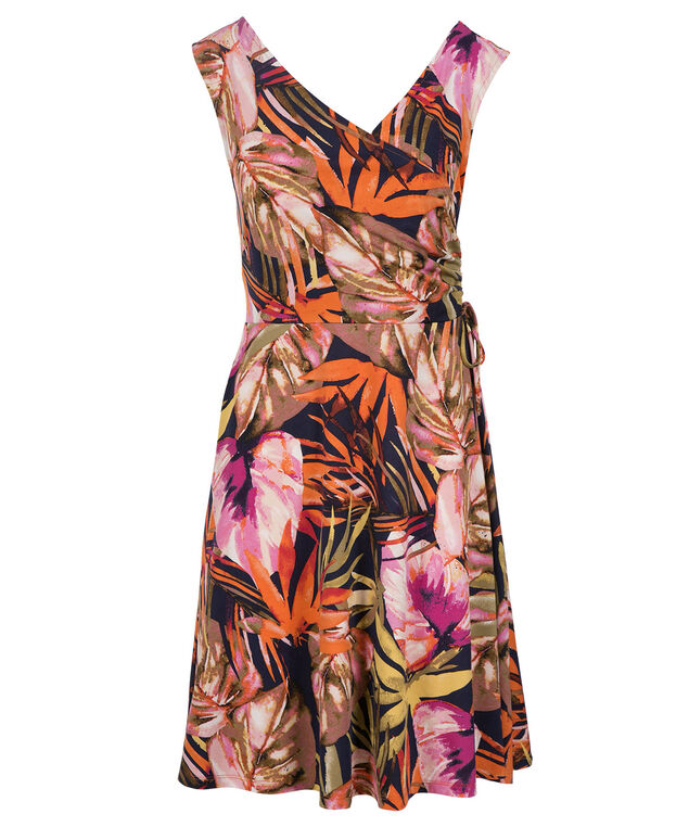 Tropical Ruched Detail Dress, Pink Print, hi-res