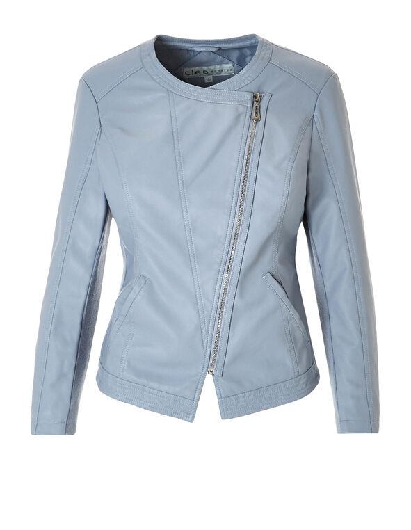 Washed Blue Pleather Jacket, Washed Blue, hi-res
