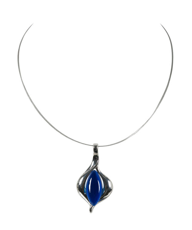 Tear Shaped Cateye Necklace, Sapphire/Rhodium, hi-res