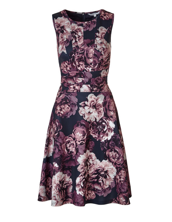 Floral Print Fit and Flare Dress, Navy/Soft Pink/Bordeaux, hi-res