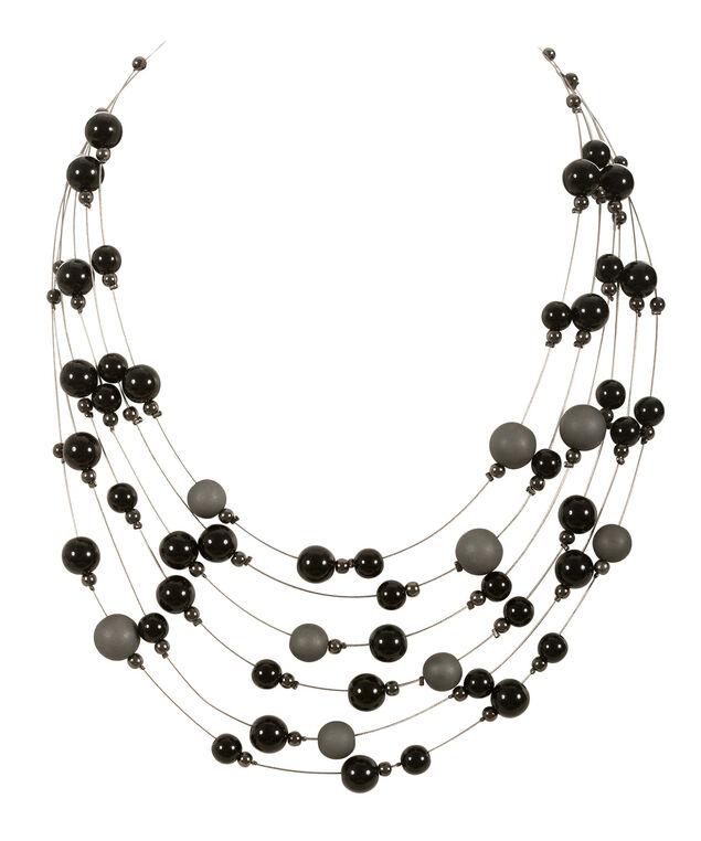 Multi Row Wire Bead Necklace, Black/Grey/Hematite, hi-res