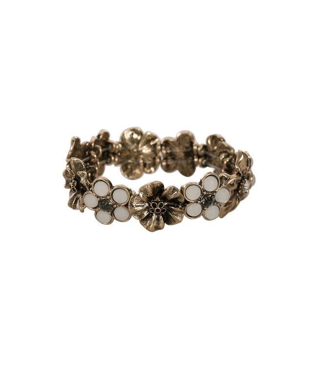 Floral & Crystal Bracelet, Antique Gold, hi-res