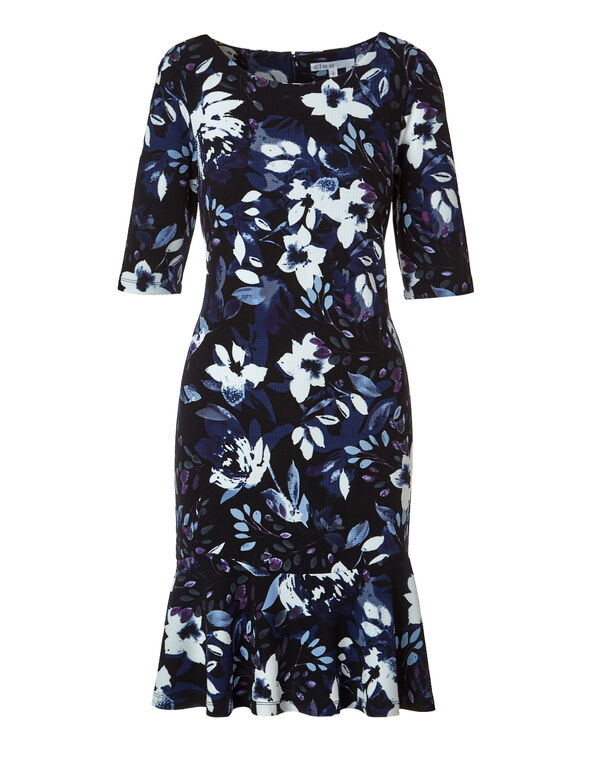 Floral Fit and Flare Dress, Black/Blue Cloud/Deep Plum, hi-res