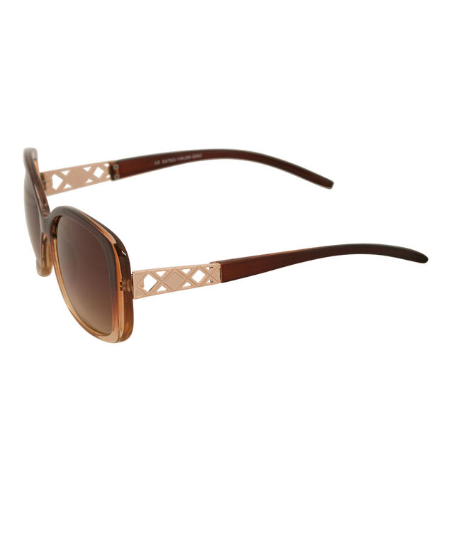 Ombre Frame Sunglasses, Brown/Gold, hi-res