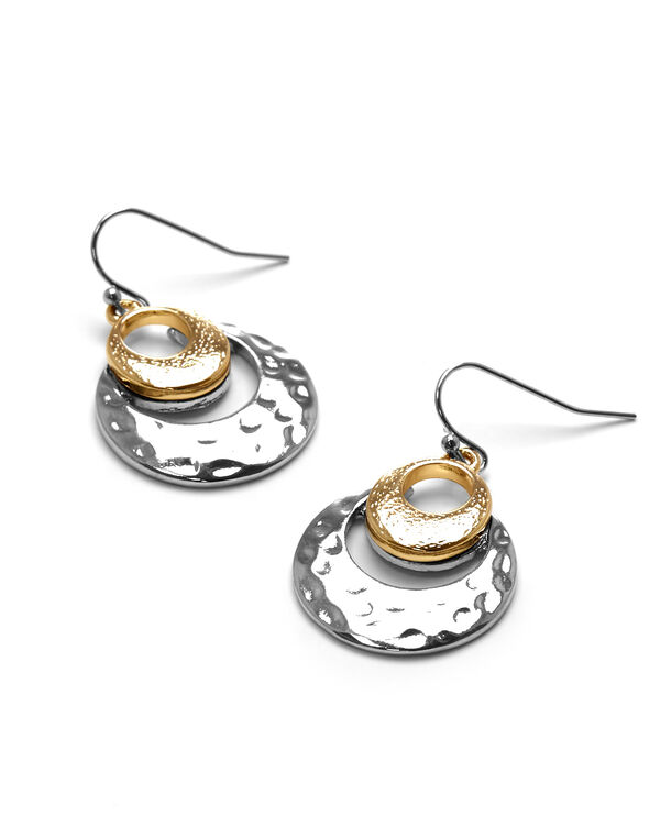 2 Tone Double Hoop Earring, Silver/Gold, hi-res