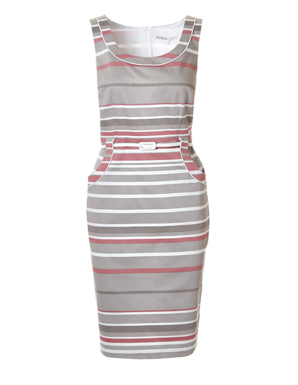 Stripe Print Shift Dress, Pink/Mushroom/Stone/White, hi-res