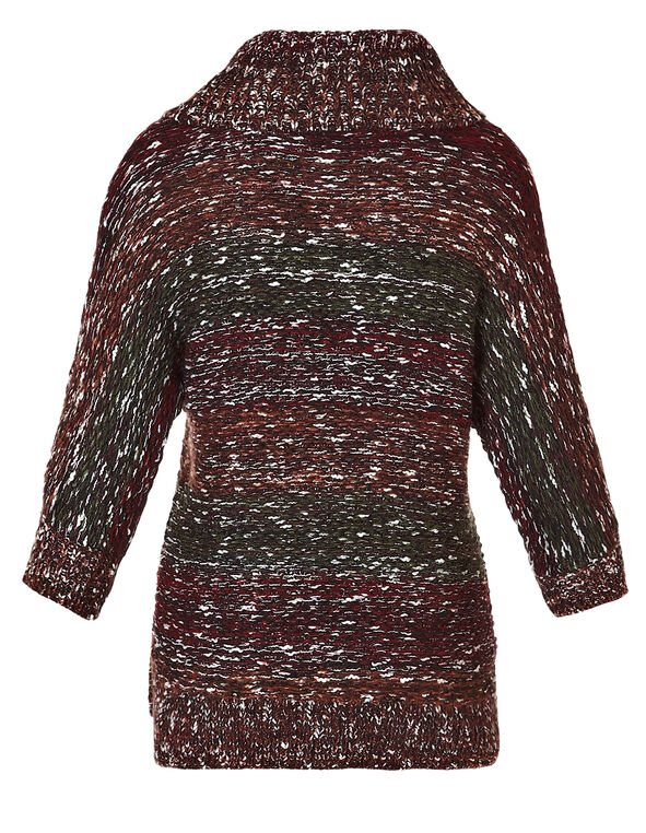 Ombre Knit Pullover Sweater, Black/White/Green/Red, hi-res