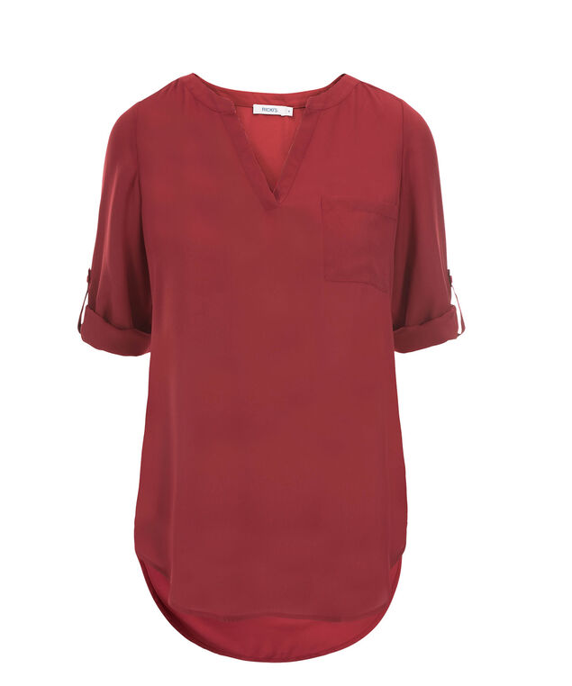 Roll Sleeve Henley Tunic, Deep Red, hi-res