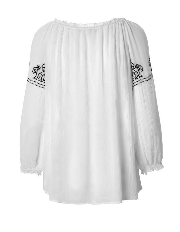 Long Sleeve Embroidered Blouse, White/Navy, hi-res