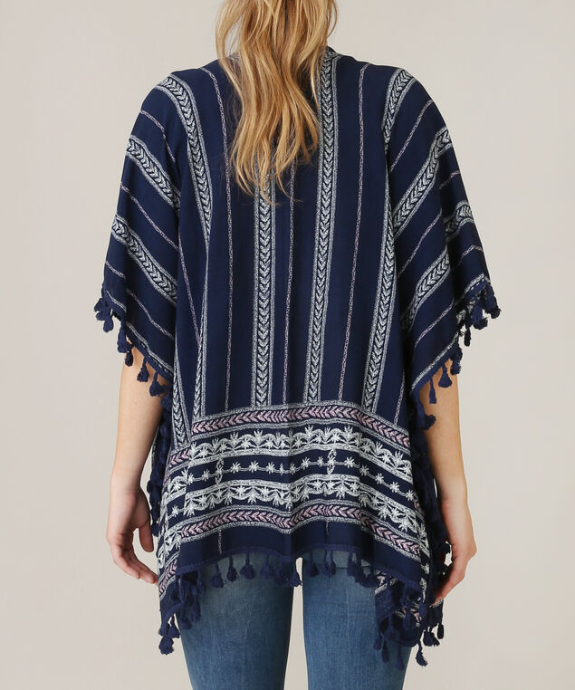 lightweight print and tassel kimono, NAVY MIX, hi-res