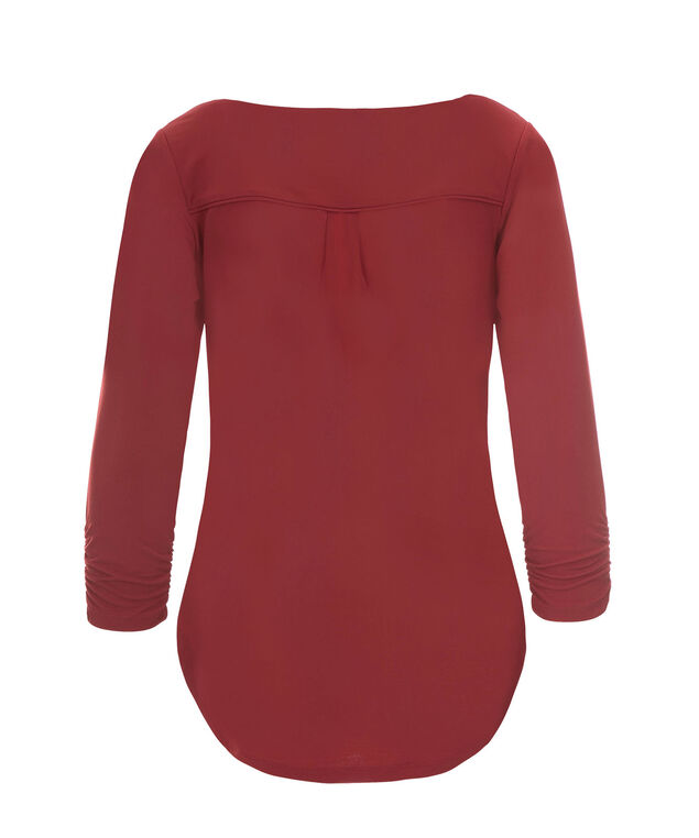 3/4 Sleeve Button V-neck, Deep Red, hi-res