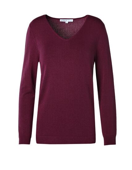 Garnet V-Neck Essential Sweater, Garnet, hi-res