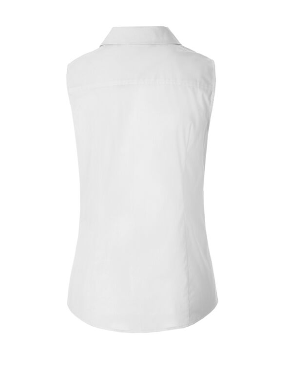 White Collared Button Blouse, White, hi-res