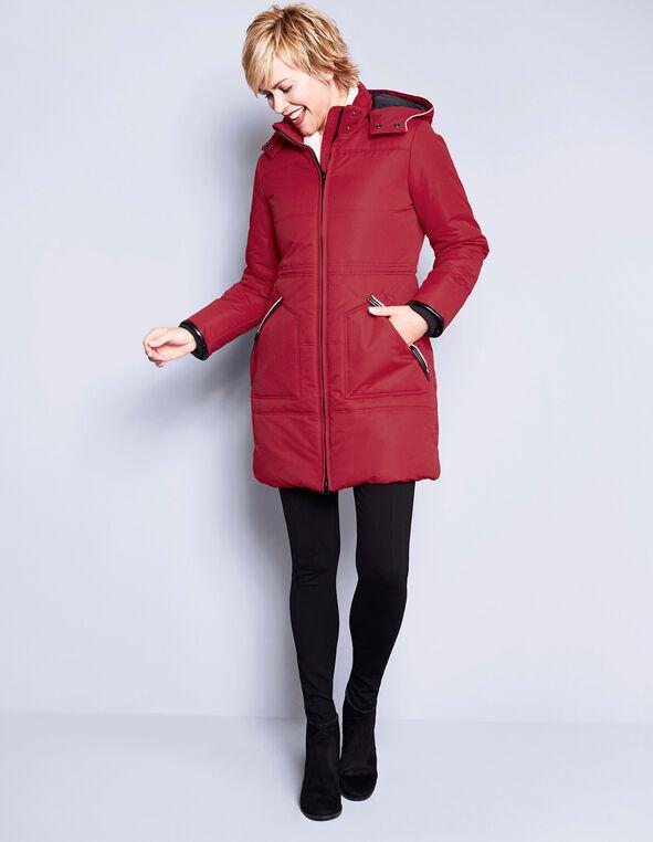 Long Poly Fill Coat, Winter Red, hi-res