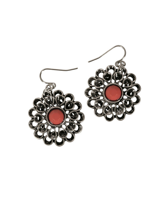 Flower Statement Earring, Coral/Burnished Silver, hi-res