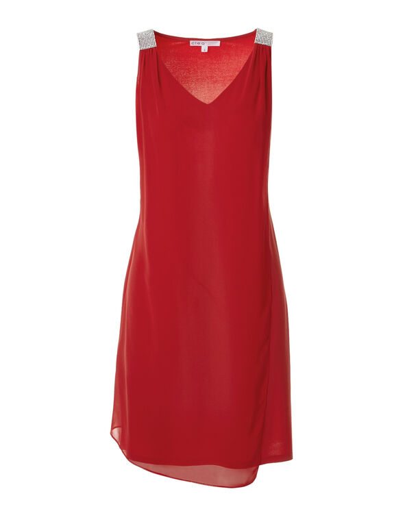 Coral Crystal Shoulder Dress, Coral, hi-res