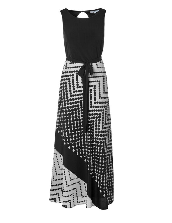 Polka Dot Maxi Dress, Black/White, hi-res