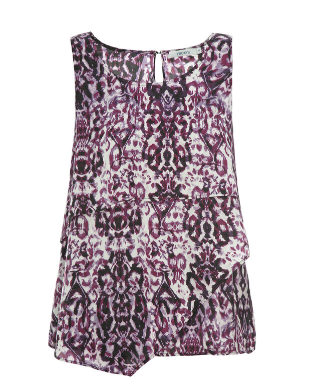 Sleeveless Tiered Blouse, Purple Print, hi-res