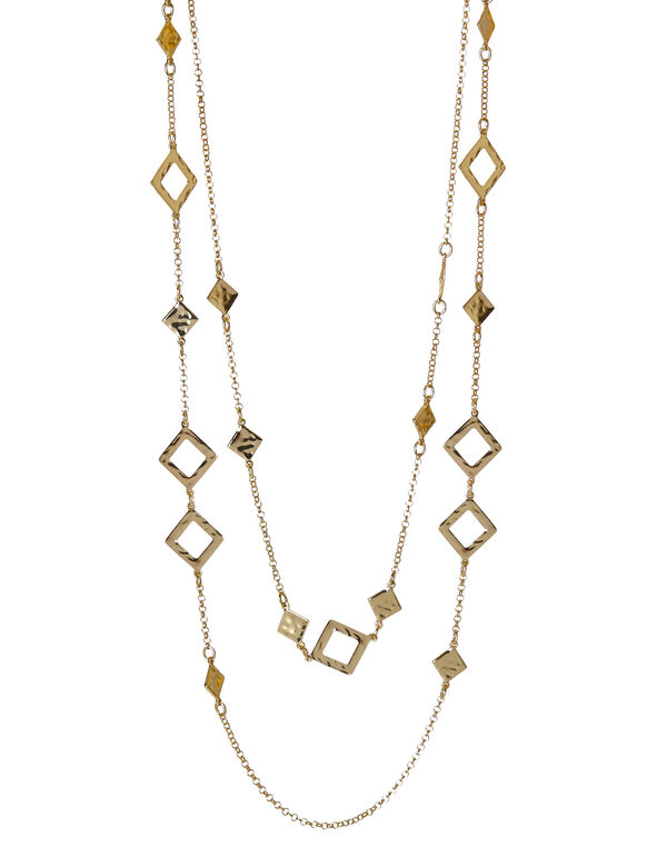 Long Duo-Layer Gold Necklace, Gold, hi-res