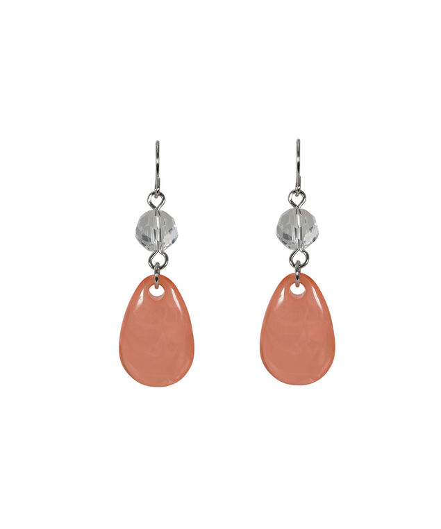 Orange Teardrop Earring, Soft Orange/Rhodium, hi-res