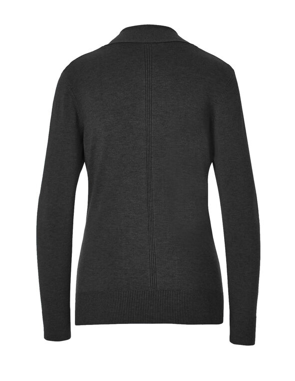 Charcoal Mid Ribbed Cardigan, Charcoal, hi-res
