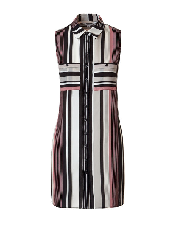 Peony Stripe Button Front Tunic, Peony/Black/Stone/Ivory, hi-res