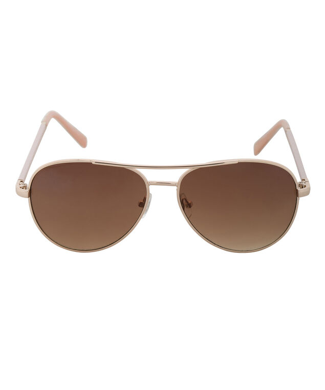 Wrapped Arm Aviator Sunglasses, Pink/Gold, hi-res