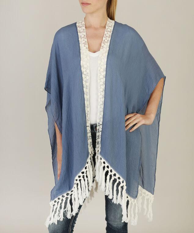 crochet edge kimono, NAVY, hi-res