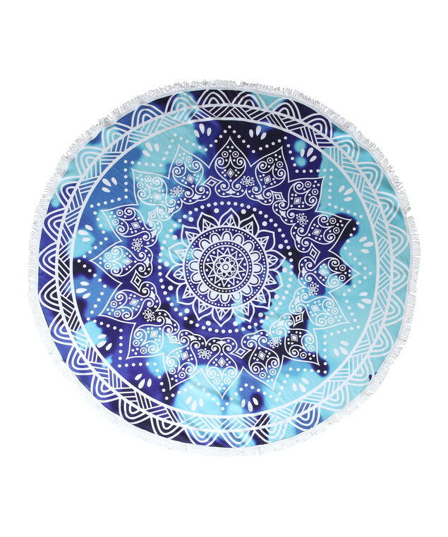 blue aztec print beach blanket - wb, BLUE/WHITE, hi-res