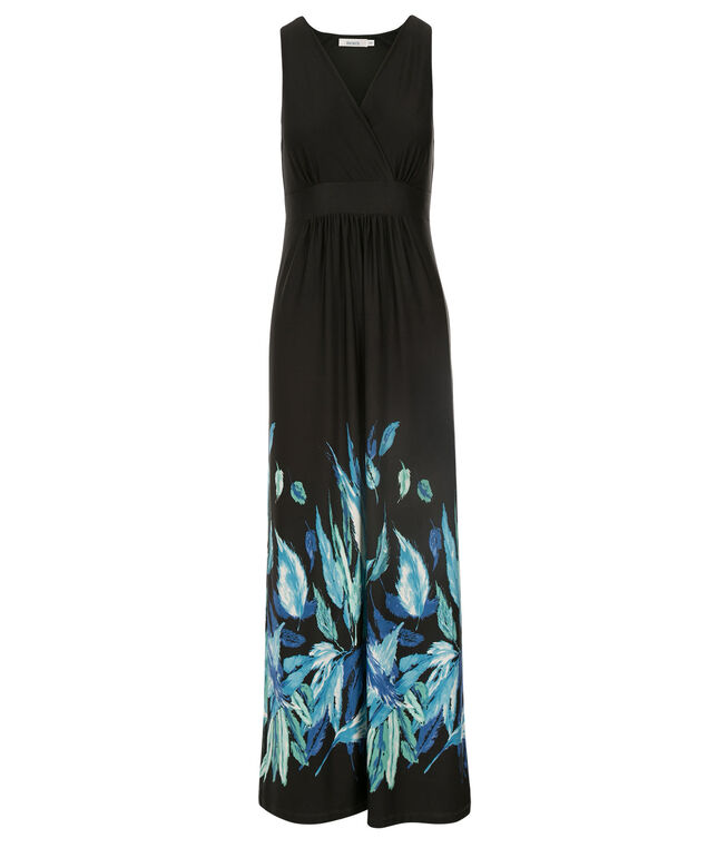Feather Print Maxi Dress, Black Print, hi-res