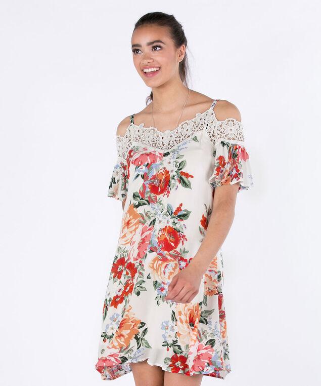 AUW Cold Shoulder Crochet Dress, Ivory/Orange, hi-res
