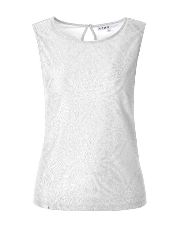 White Paisley Sleeveless Top, White, hi-res