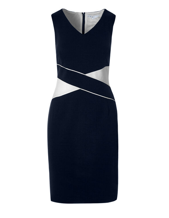 Navy Colour Block Shift Dress, Navy/White, hi-res