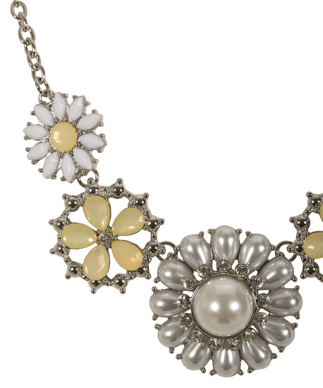 Pearl Floral Statement Necklace, Yellow/Rhodium, hi-res