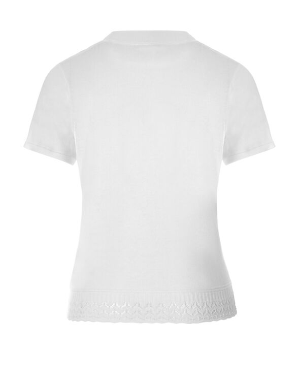 White Short Sleeve Sweater, White, hi-res