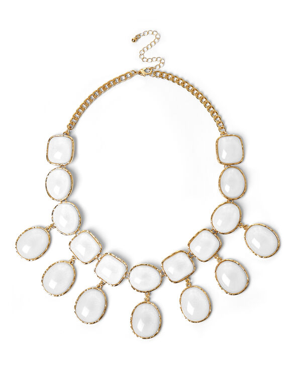 White Shimmer Statement Necklace, White/Gold, hi-res