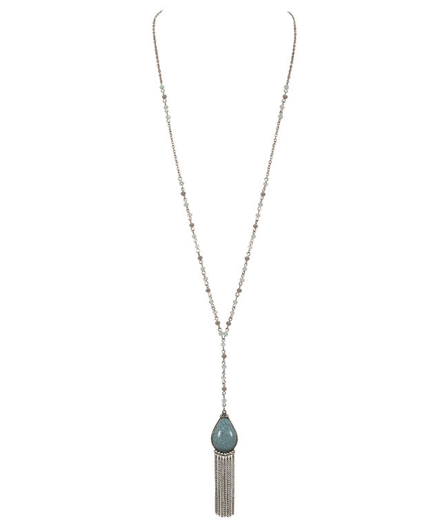 Turquoise Teardrop Necklace, Turquoise/Burnished Silver, hi-res