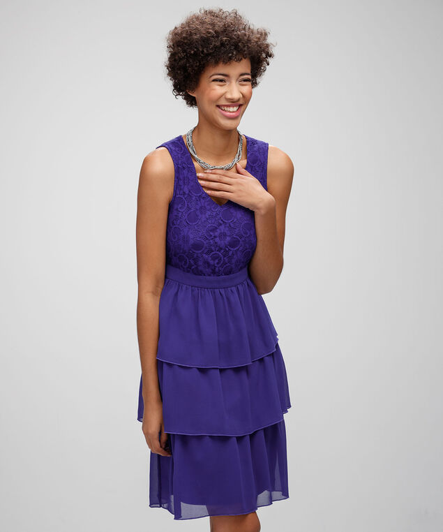 Lace Bodice Cha Cha Dress, Royal Purple, hi-res