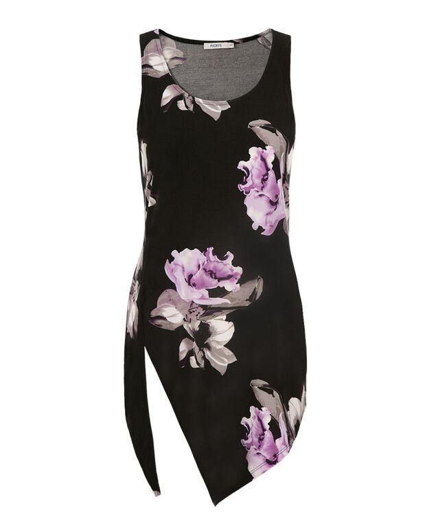 Asymmetrical Hem Floral Tank, Black Pattern, hi-res