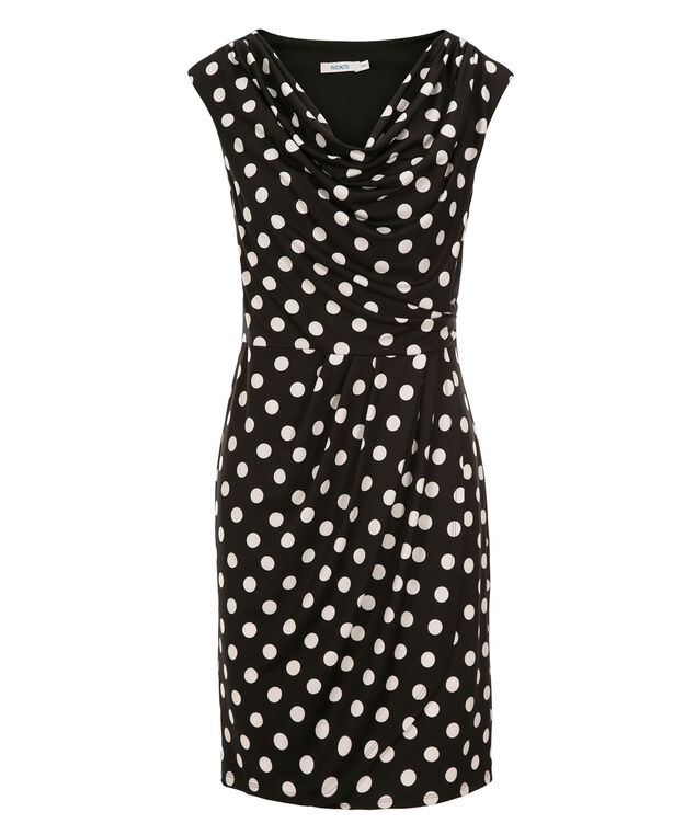 Cowl Polka Dot Dress, Black/Milkshake, hi-res