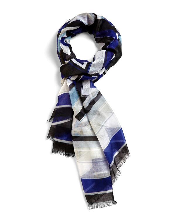 Royal Blue Geometric Scarf, Royal Blue/Washed Blue/Ivory/Black, hi-res