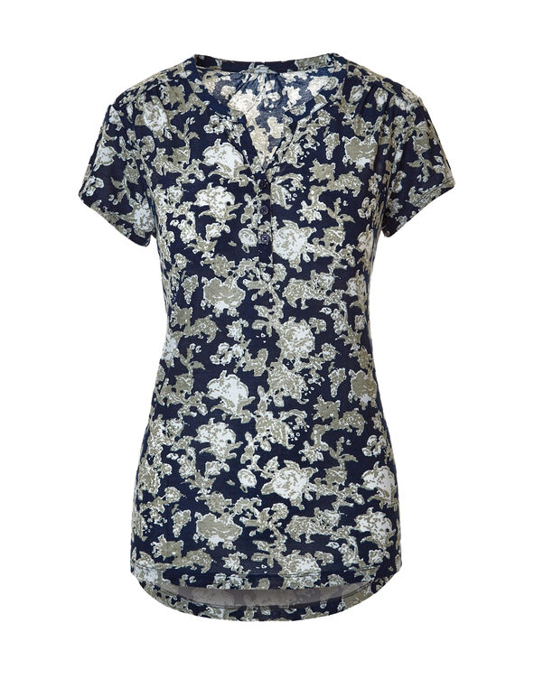 Navy Print Button Front Tee, Navy/Sage/White, hi-res