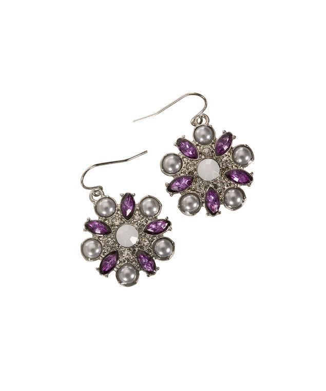 Floral & Crystal Earring, Purple/Rhodium, hi-res