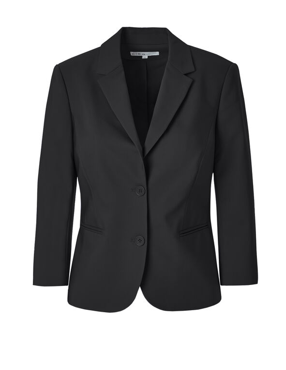Black 3/4 Sleeve Blazer, Black, hi-res