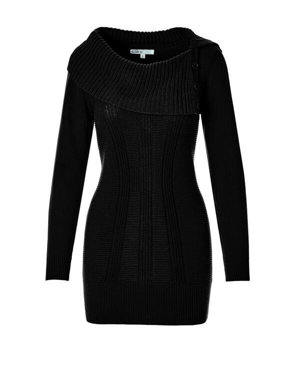 Black Split Neck Sweater, Black, hi-res