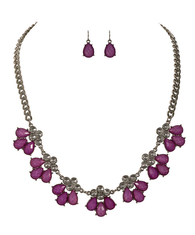 Tear Shaped Statement Necklace, Purple/Rhodium, hi-res