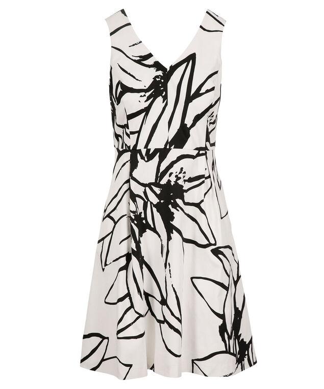 Sketchy Floral Print Dress, White/Black Print, hi-res